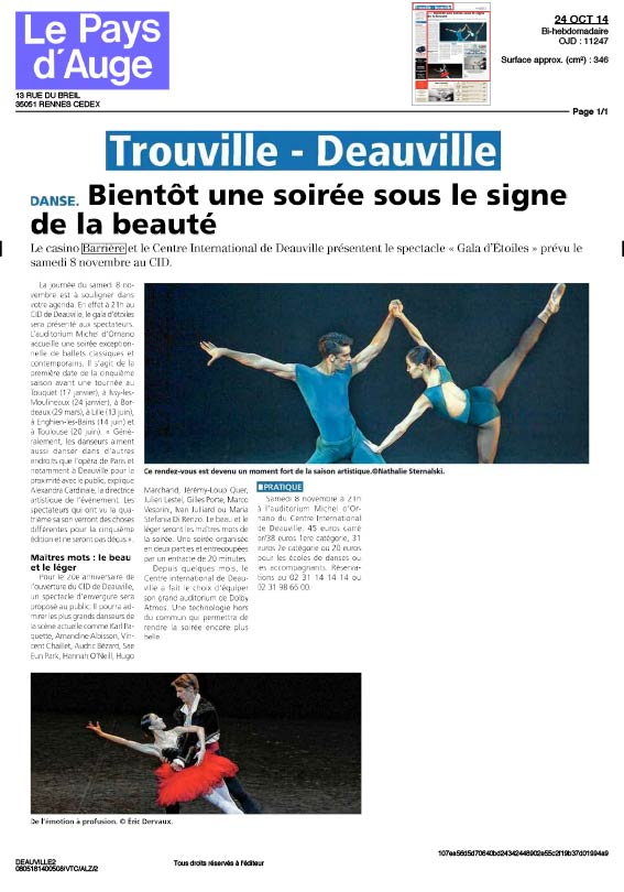 Article Le Pays dAuge Octobre Novembre 2014 AC Opera Ballet Production
